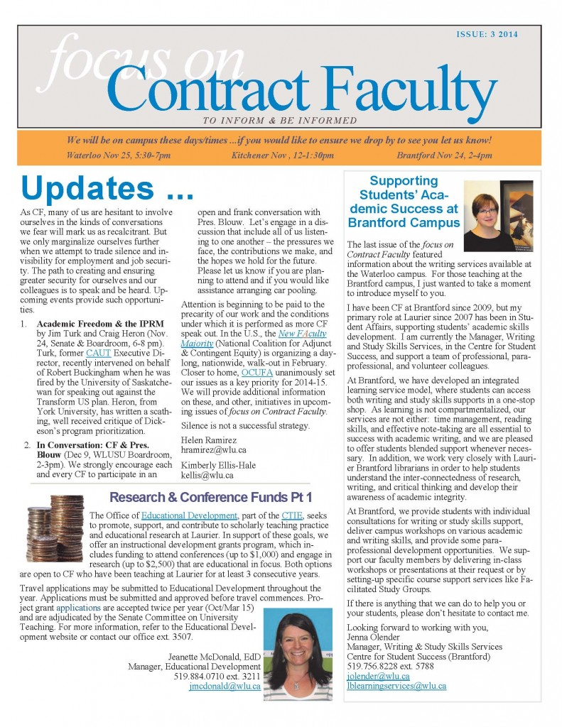 focus on Contract Faculty Issue 3