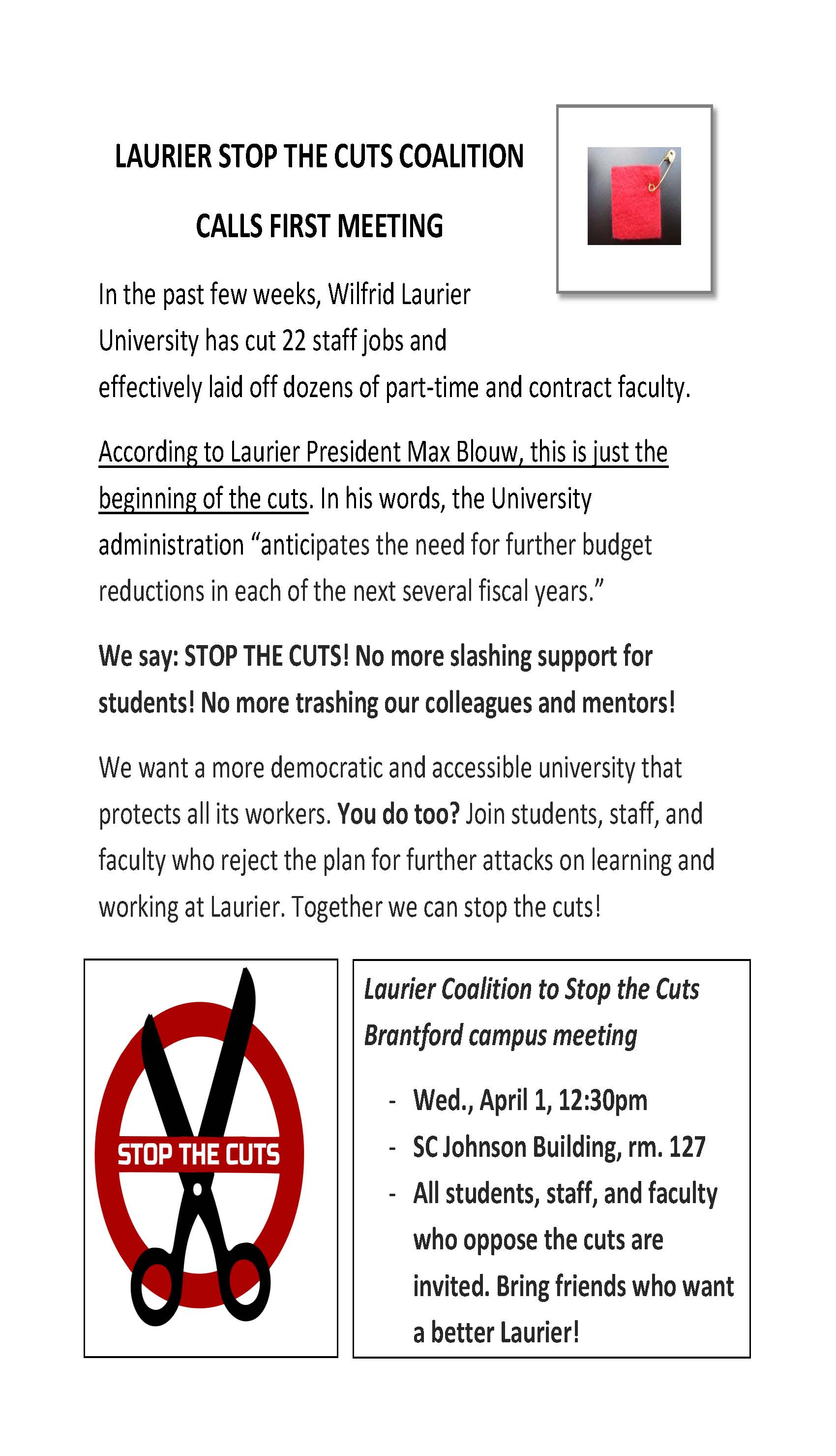 LAURIER STOP THE CUTS COALITION -- Meeting April 1