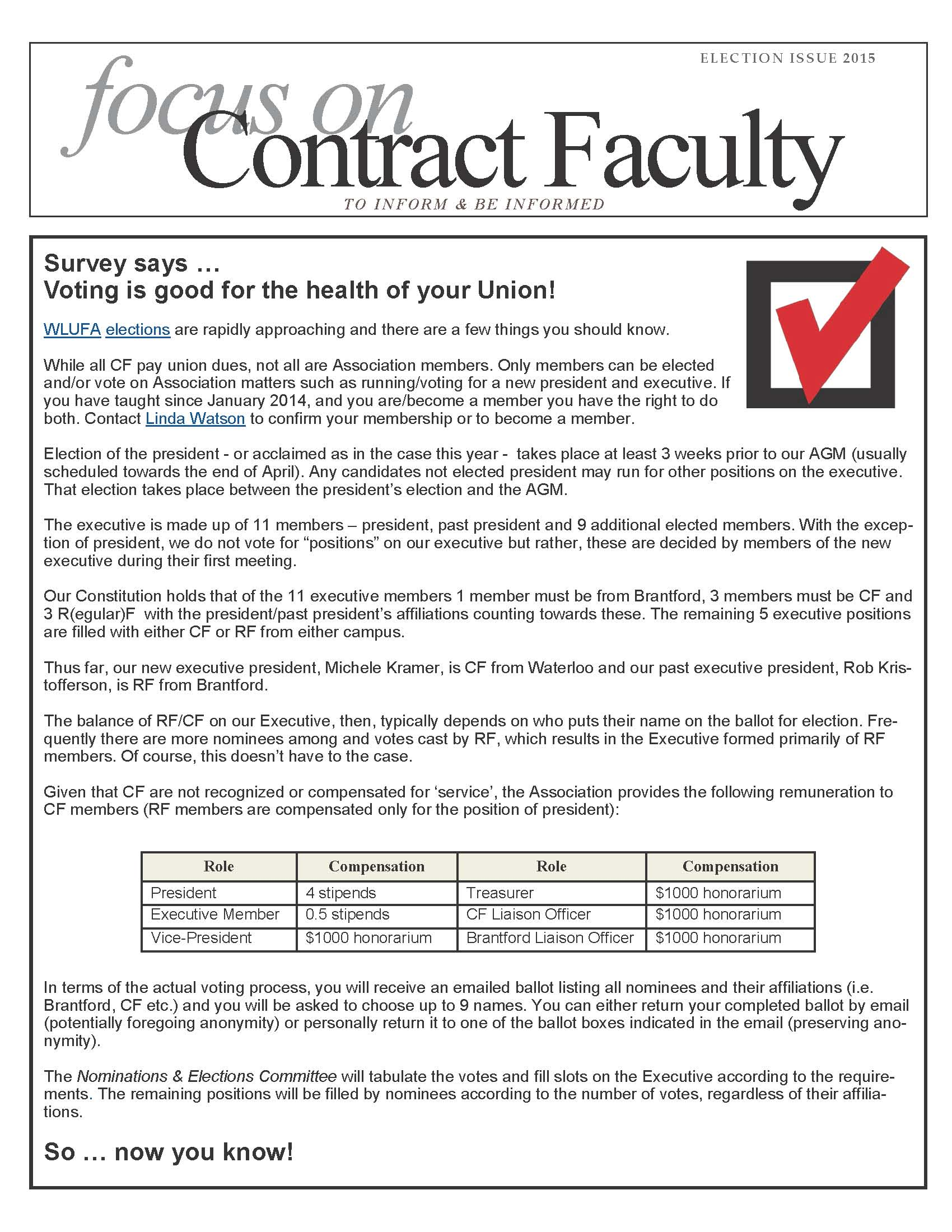 focus on contract faculty, election issue 2015