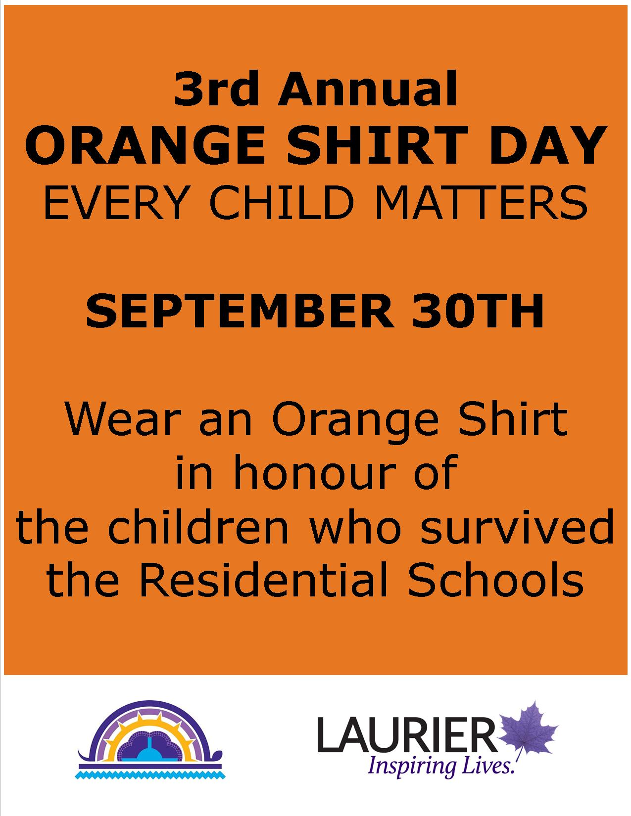 Orange Shirt Day in honour of the survivors of the Residential Schools PLEASE SHARE