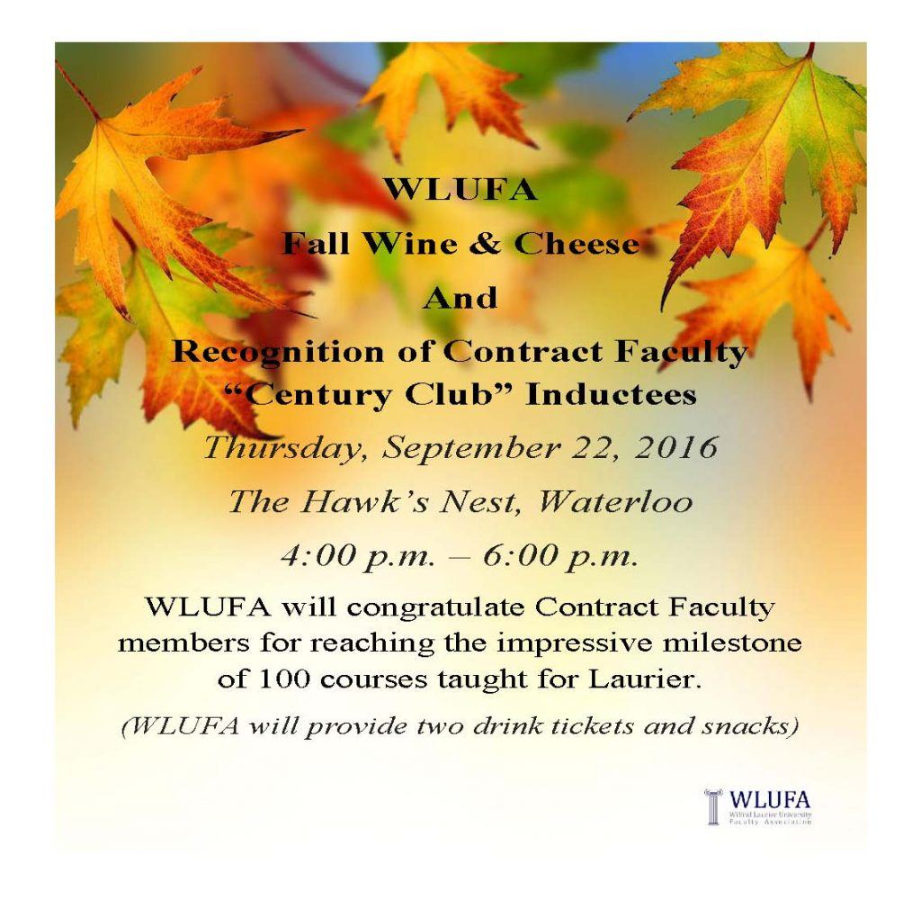 WLUFA Fall Wine and cheese sept 22 2016
