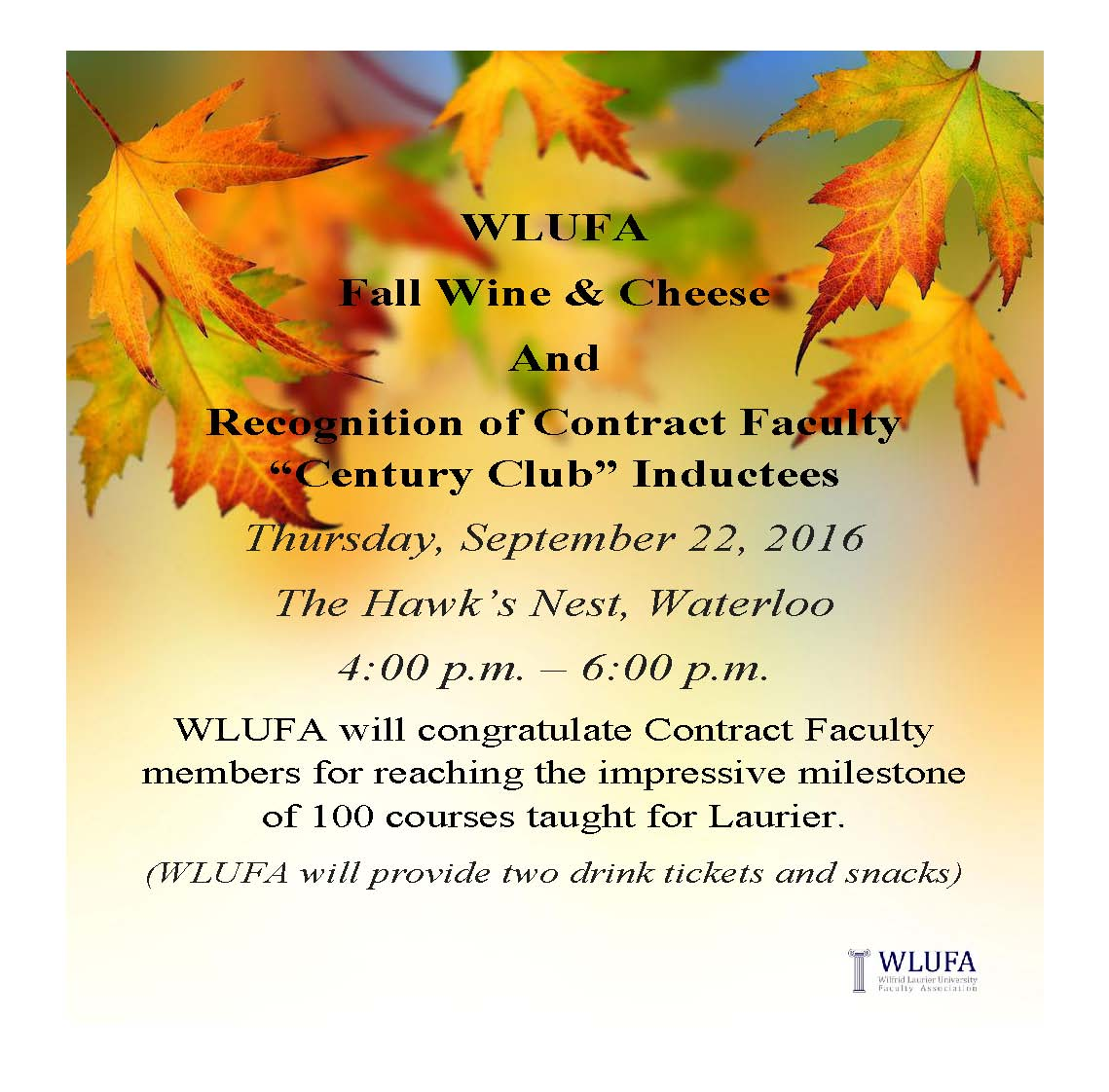 "Fall Wine & Cheese and Recognition of Contract Faculty ""Century Club"" Inductees"