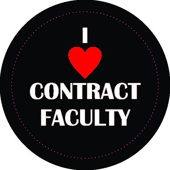 "Button image with text saying ""I love/heart contract faculty""."