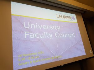 "First slide of UFC meeting in November 2016 saying ""University Faculty Council, 14 November 2016, 6:30 - 8:00 pm, Senate & Board Chamber & RCW324""."