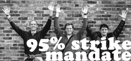 """95% strike mandate"" text over black and white image of three people cheering in front of a brick wall."