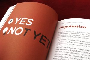 "Photo of an open book with ""yes"" and ""not yet"" as options on the left, and text titled ""Negotiation"" on the right."