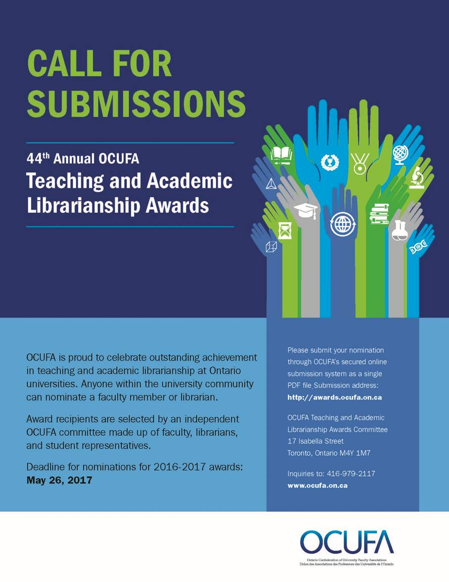 Call for nominations of the annual OCUFA Teaching and Academic Librarianship Awards