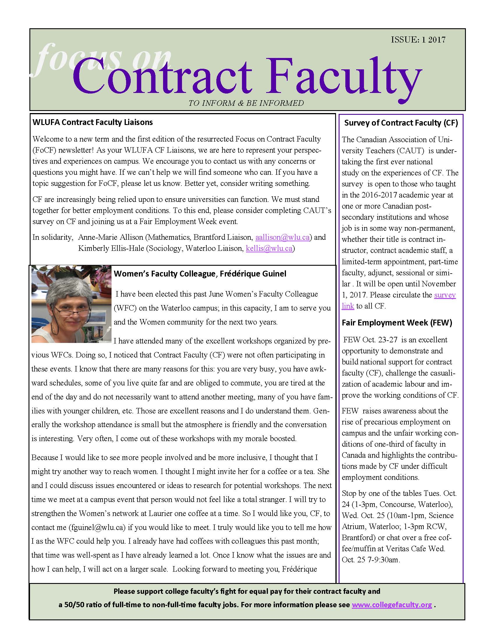 Focus on Contract Faculty Issue 1 2017