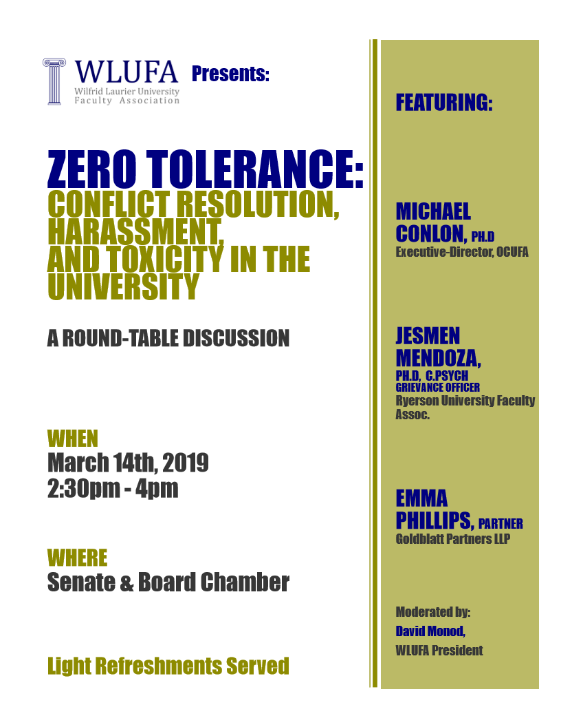 March 14 Round-table: Workplace Harassment and Conflict Resolution